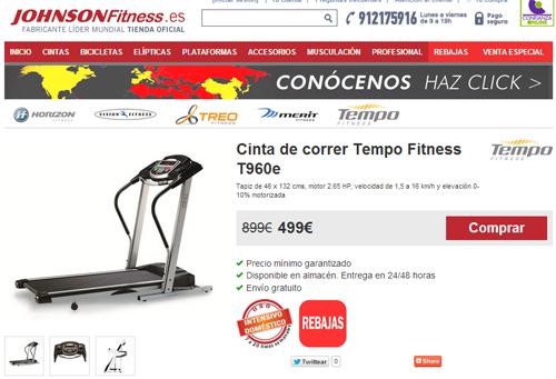 Cintas de correr: Rebajas de enero en Johnson Fitness. Tempo T960 por 499€
