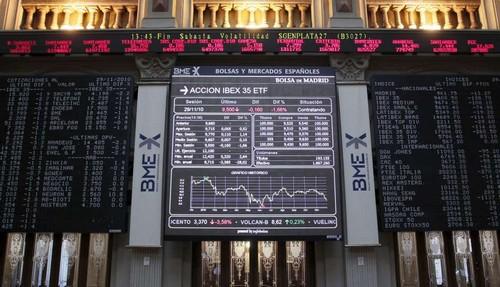 El Ibex baja un 0,87% a media sesión
