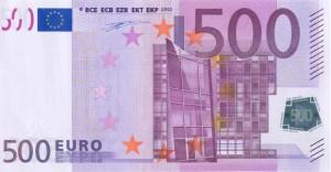 Los billetes de 500 euros se mantienen en niveles de 2005