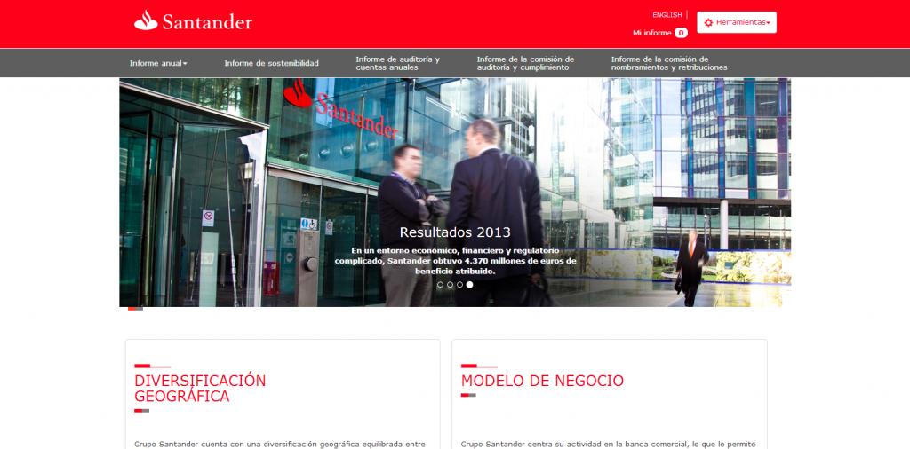 Banco Santander presenta una web para su memoria anual 2013