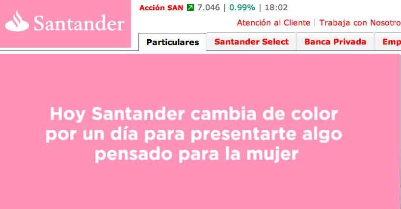 Banco Santander pasa del rojo al rosa en apoyo a la lucha contra el cáncer