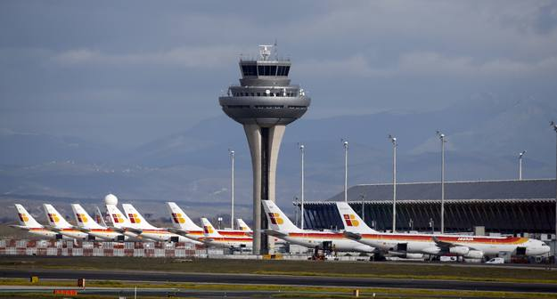 Iberia passenger aeroplanes are parked on fifth day of  an Iberia workers strike in Madrid