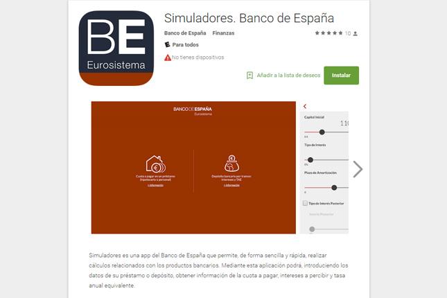 El Banco de España lanza una aplicación para simular depósitos y préstamos