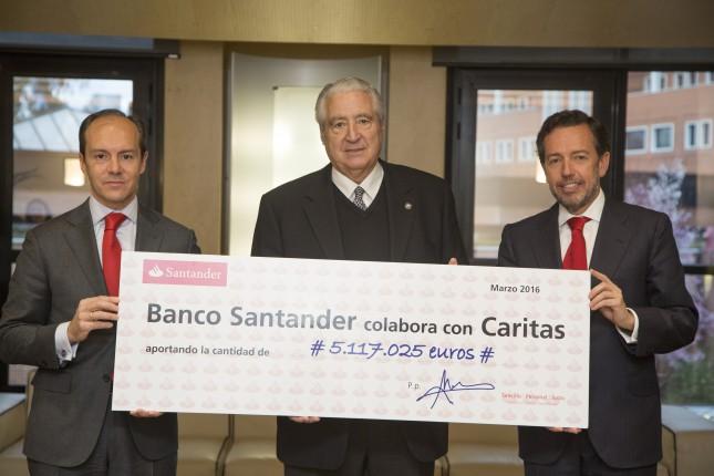 Banco Santander entrega 5,1 millones de euros a Cáritas