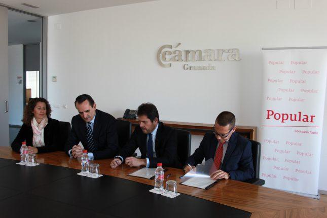 Banco Popular firma acuerdo con la Cámara de Comercio de Granada